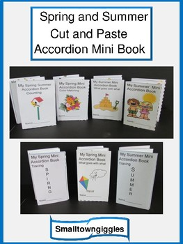 spring and summer cut and paste mini accordion book fine motor