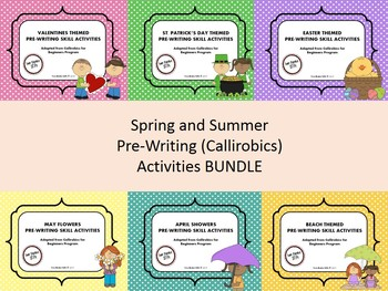 Spring and Summer Themed Pre-Writing (Callirobics) Activities BUNDLE