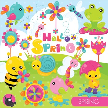 Spring animals clipart commercial use, vector graphics, digital - CL951