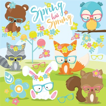 Spring animals clipart commercial use, vector graphics, digital,  - CL967