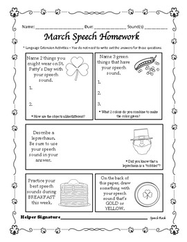 Spring artic NO PREP homework with language extension & carryover activities