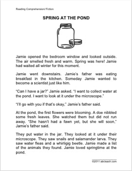 Spring at the Pond - Fiction Reading Comprehension - Elementary (2nd-4th Grade)