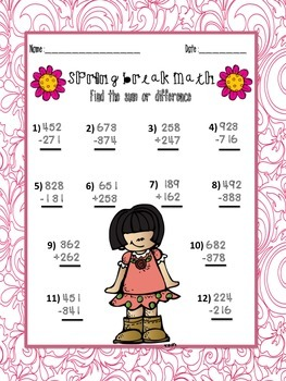 Spring break Homework packet- Grades 1-3 Aligned with CCSS