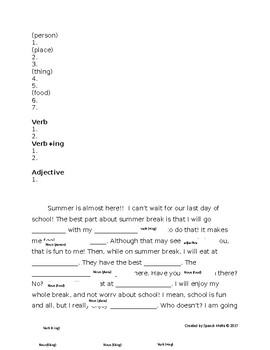 Spring break/summer mad libs