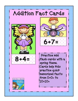 Spring butterfly Addition Flashcards