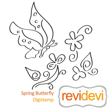 Spring butterfly (digital stamp, coloring image) S053