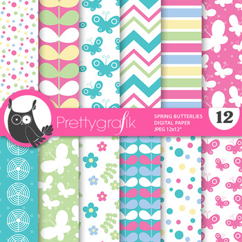 Spring butterfly papers, commercial use, scrapbook papers - PS797