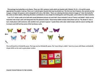 Spring butterfly theme gameboard, following directions, artic sentences