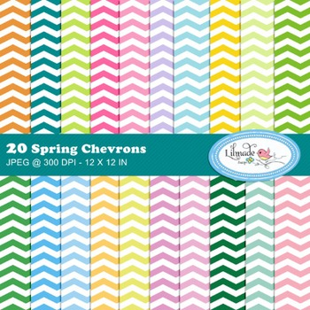 Spring chevron digital papers