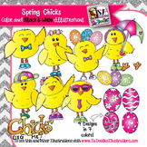 Spring chicks and Easter Eggs clip art