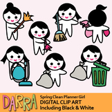Spring clean clip art (planner girl clipart)