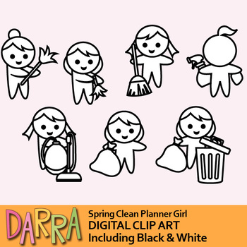 Spring clean clip art (planner girl clipart)