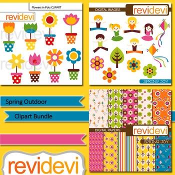 Spring clip art bundle (3 packs) flowers in pots, kids jumping - Spring Outdoor