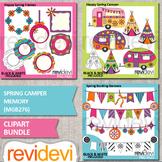Spring clipart bundle (Caravan camper, bunting banners, frames)