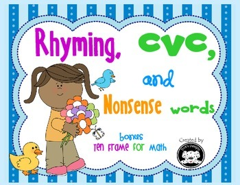 Spring colored rhyming, cvc and nonsense word cards