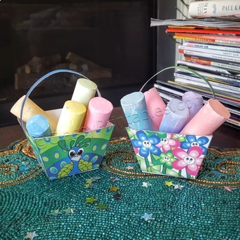 Spring craft for kids chalk/crayon/treat baskets and FREE coloring pages