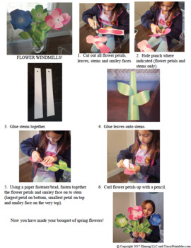 Spring craft for kids flower windmills and FREE photosynthesis coloring pages