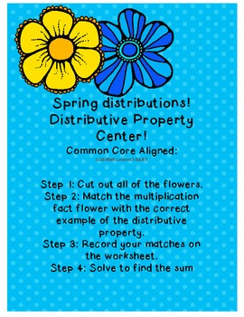 Spring distributions! DIstributive property FREEBIE!!!