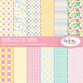 Spring floral digital papers, spring backgrounds