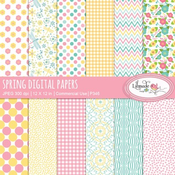Spring floral digital papers, spring backgrounds