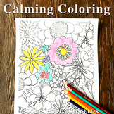 Spring flowers calming coloring page