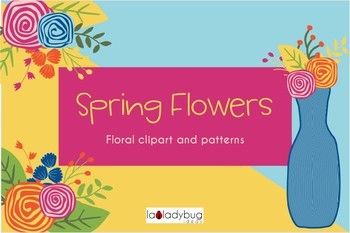 Spring flowers clip art and digital papers collection.