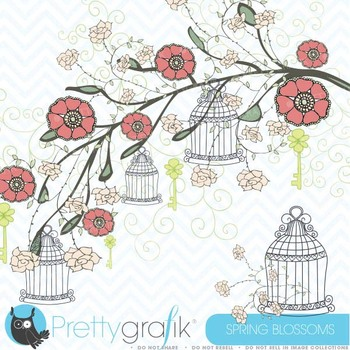 Spring flowers clipart commercial use, vector graphics, digital clip art - CL320