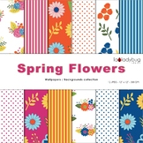 Spring flowers digital papers. Spring colors wallpapers. Floral backgrounds.