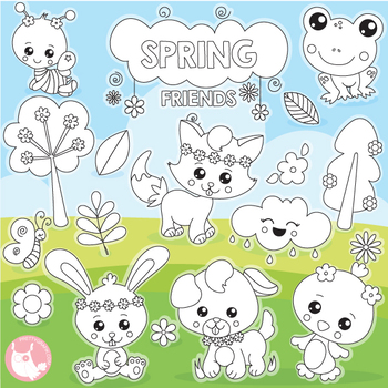 Spring friends stamps commercial use, vector graphics, images  - DS1129