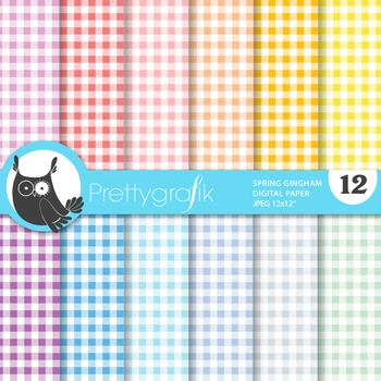 Spring gingham digital paper, commercial use, scrapbook pa