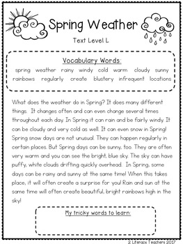 Spring has Sprung: CCSS Aligned Leveled Reading Passages & Activities Levels J-M