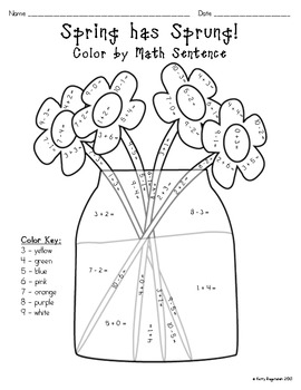 Spring has Sprung! Color by Math Sentence