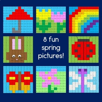 Spring hundreds addition and subtraction within 20 mystery pictures