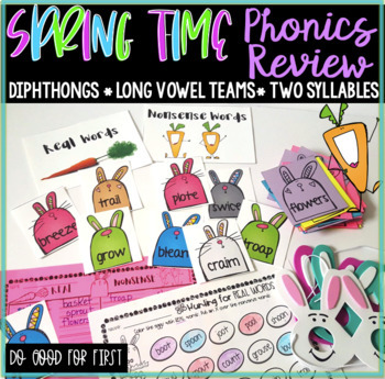 Spring Real And Nonsense Word Sort Diphthongs Long Vowel Teams