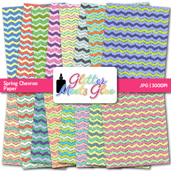 Spring Chevron Paper | Scrapbook Backgrounds for Task Cards & Resources