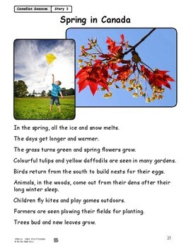 Spring in Canada Reading Lesson Gr. 1-2