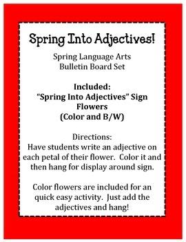 Spring into Adjectives Bulletin Board Set.  Language Arts English Activity