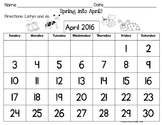 Spring into April Calendar Listening Activity