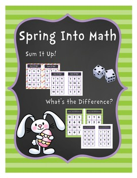 Spring into Math Addition and Subtraction Board Game: Easter Edition