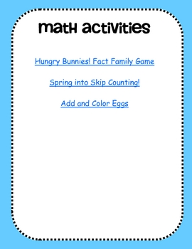 Spring into Math!-Spring Math Activities