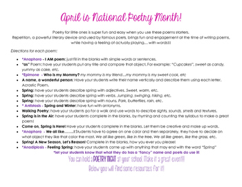 Spring into Poetry in April! Play with words and repetition & be a real Poet!