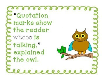 Whoo Said That  - Spring Themed Task Cards for Introducing Quotation Marks