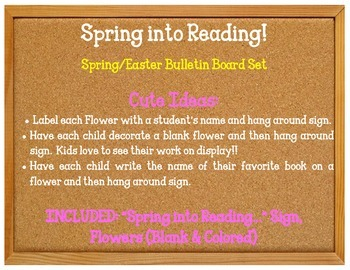 Spring into Reading. Bulletin Board Idea. Spring Flowers. Library Reading Corner