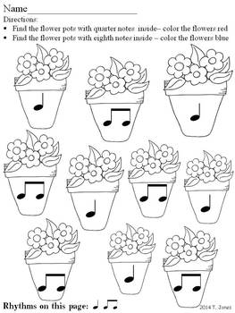 Music Worksheets: Music Math Spring into Rhythm 2 {Flower Pots Edition}