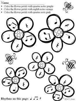 Music Worksheets: Music Math Spring into Rhythm 4 {Flower Petals}