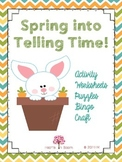 Spring into Telling Time (Activity, Worksheets, Puzzles, Bingo, and Craft)