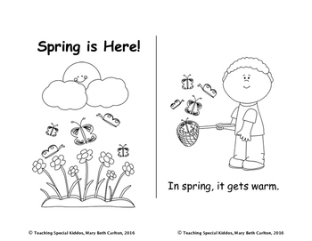 Spring is Here Mini-Book Read and Color