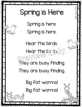 Spring is Here - Printable Poem for Kids