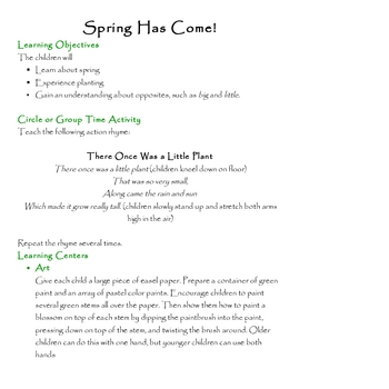 Spring is Here - Thematic Unit