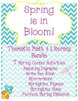 Spring is in Bloom Literacy & Math Center Bundle